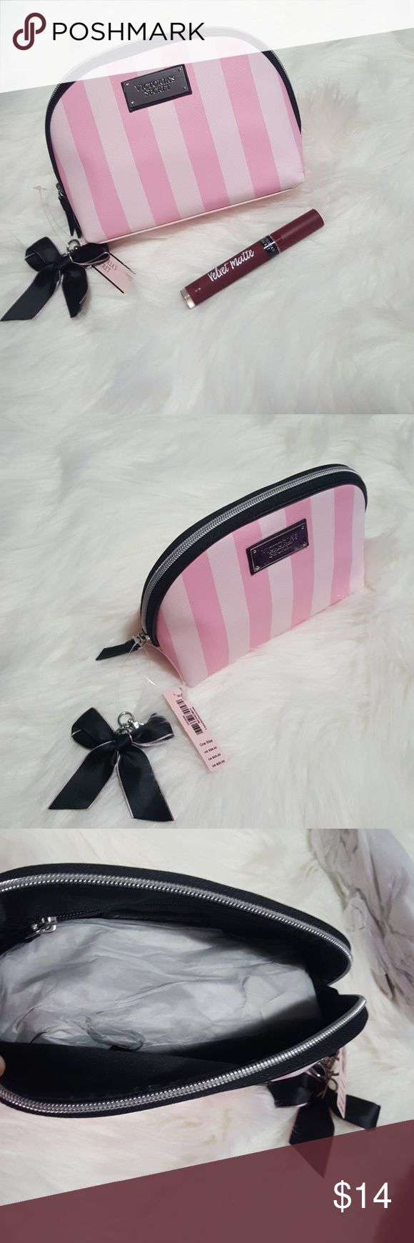 New Victoria's Secret Make-Up Bag NEW Victoria's Secret Make-Up Bag in Signature  VS print - Never used (tags attached) with satin black bow perfect for a gift  (Velvet Matte Lip Creme Stain not included, but is listed in my closet, see separate listing). Victoria's Secret Accessories