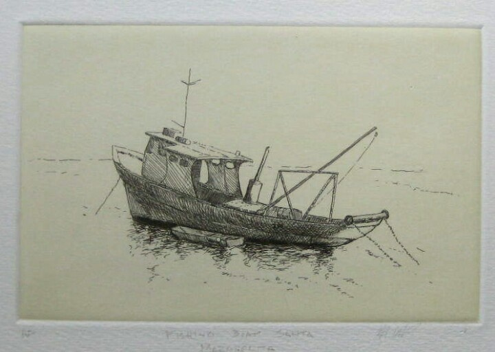Italian Fishing Boat, etching with ground color, 10cm x 15cm by Matthew James Collins