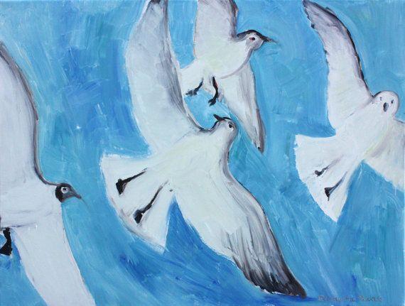 Seagulls original painting bird canvas oil on by elisavetasivas, €90.00