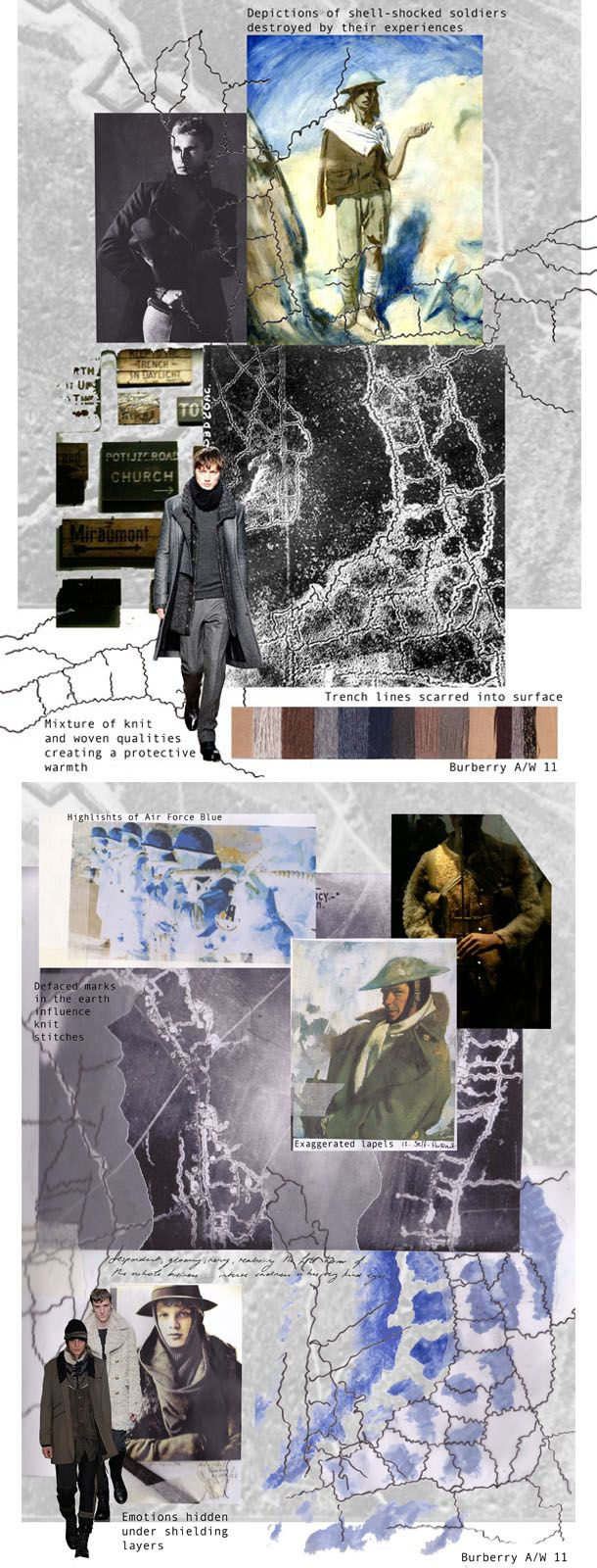 Fashion Sketchbook - fashion design development board exploring the theme of war through layers, surface patterns & knit structures; fashion portfolio