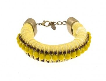 Yellow bracelet with beads and rope, by Art Wear Dimitriadis -Handmade-