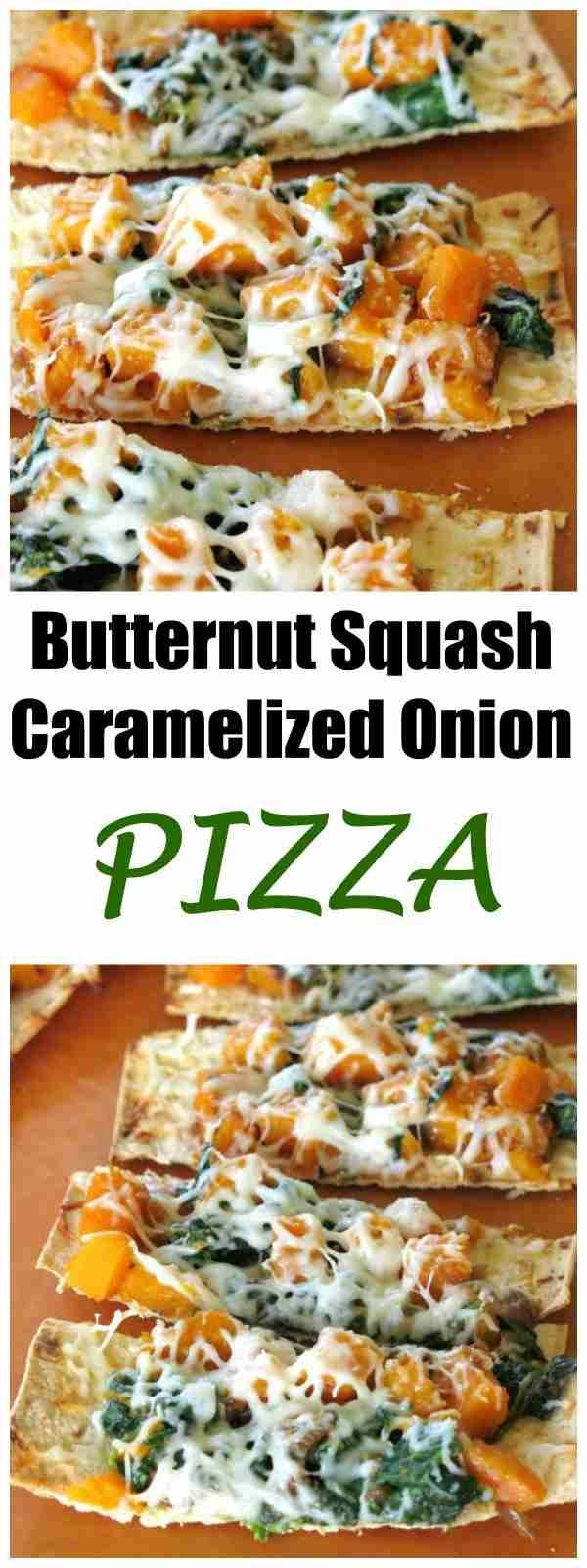 Butternut Squash Caramelized Onion Pizza Recipe - makeover pizza night with this EPIC fall dinner! #pizzanight #butternutsquash #pizza #fallrecipes