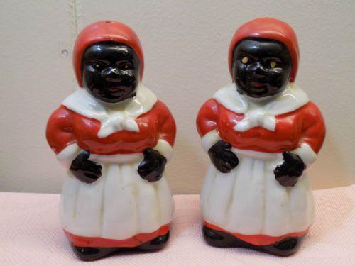 Vintage-Black-Americana-Aunt-Jemima-Lady-Figural-Salt-Pepper-Shakers-VGC