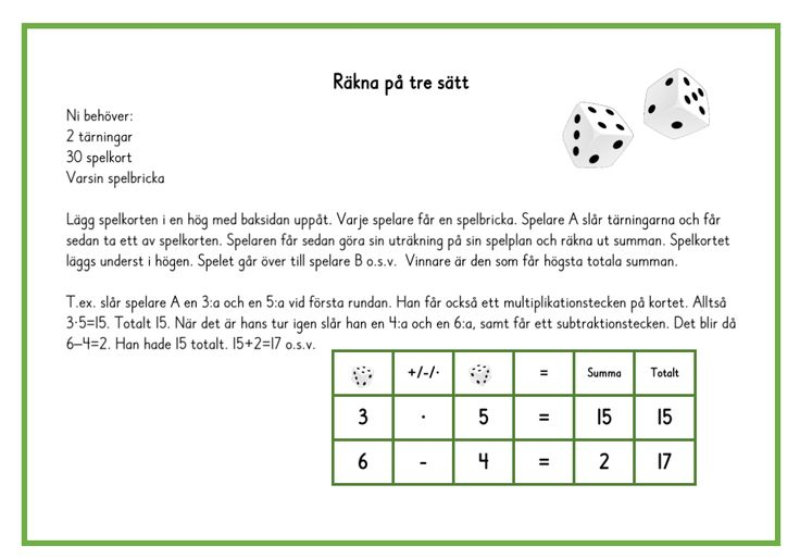 Räkna på tre sätt - med addition, subtraktion och multiplikation.