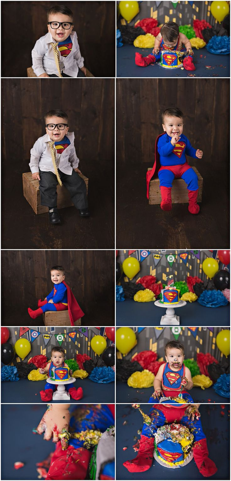 Superman / Super hero Cake Smash  Michelle Voigt Photography  Bryan / College Station Cake Smash Photographer  Cake: Peace,Love & Cakes  #mvoigtphoto #peaceloveandcakes #cakesmashthemes