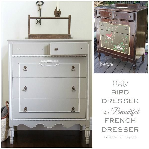 Ugly bird dresser to beautiful French dresser | somuchbetterwithage.com