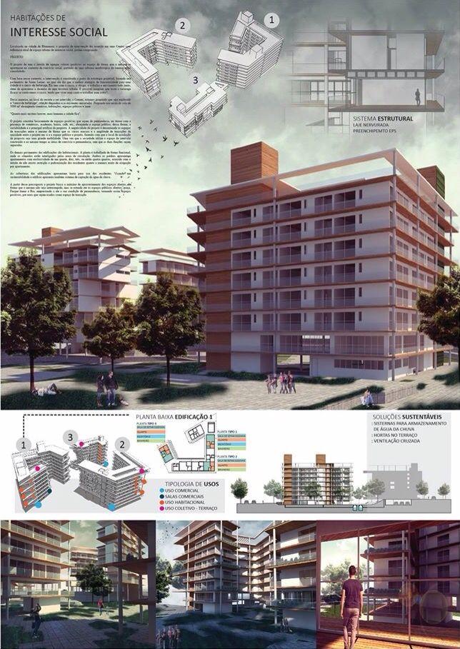 HABITAÇÃO DE INTERESSE SOCIAL prancha de arquitetura Architecture presentation board