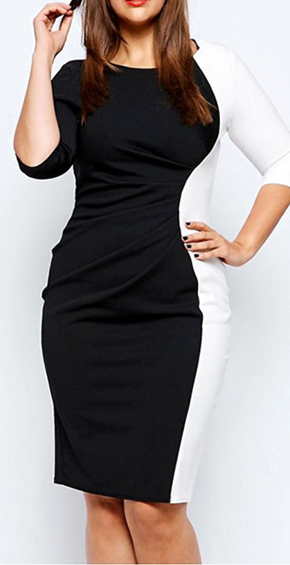 3df0d9320d4 Sizes 14-20 Curvy Plus Size Bodycon LBD - Sexy knee length midi dress with  round neck