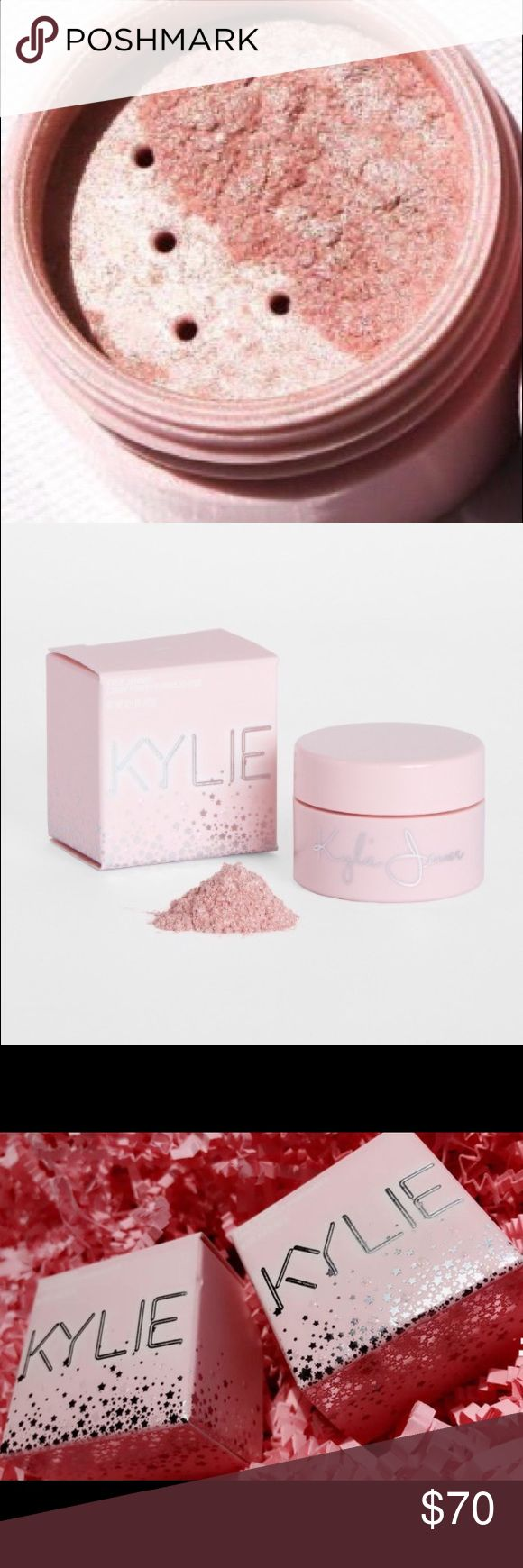 SOLD OUT KYLIE BIRTHDAY QUEEN ULTRA GLOW highlight SOLD OUT ON KYLIES WEBSITE! No trades! BNIB Guaranteed Authentic Kylie Cosmetics 20th birthday collection shimmery icy pink QUEEN ULTRA GLOW highlighter!  Loose illuminating powder to create a custom glow. *Swatch if queen ultra glow is on left in last pic taken from internet!  Product never touched!* Kylie Cosmetics Makeup Luminizer