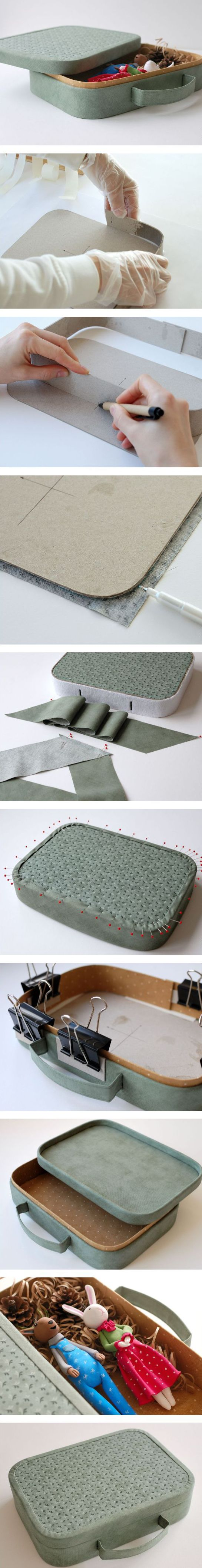 DIY gift suitcase for dolls and toys storage. Click on image to see step-by-step tutorial