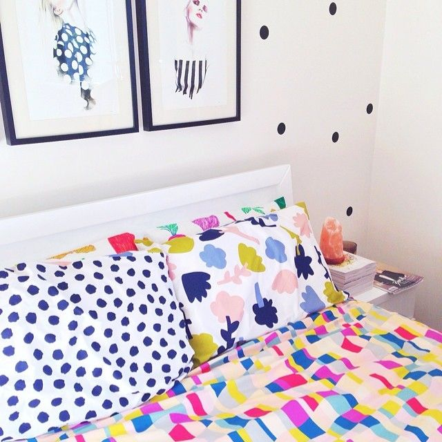 My bed seems to take on my love for colour and print..  #kipandco #gormanclothing #artelimited