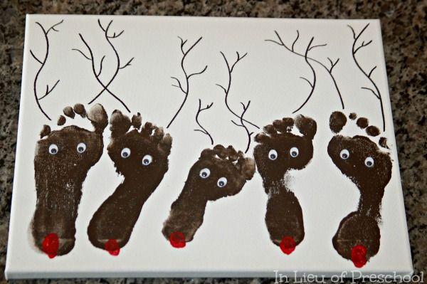 Reindeer Footprint Art Christmas Keepsake on Canvas