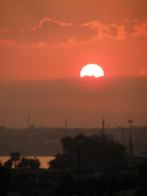 Sunset from our rooftop terrace - Istanbul, Turkey