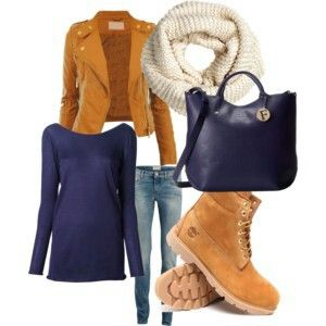 Fall sets Knitted scarf  leather jacket jeans navy bag