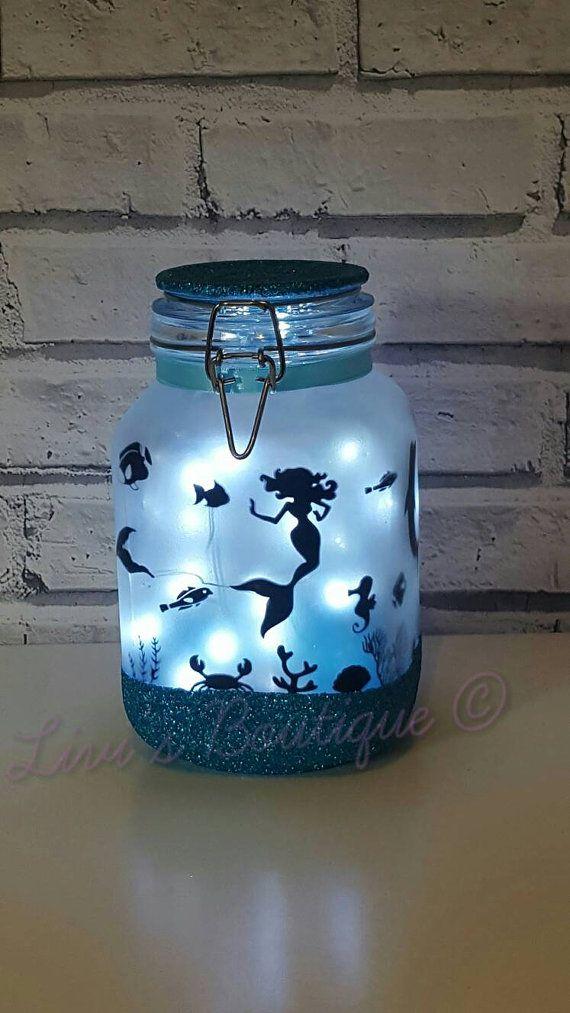 Night light, mood lighting, mermaid in a jar, fairy lights, large jars perfect for kids night light, garden light, around the home, lamp
