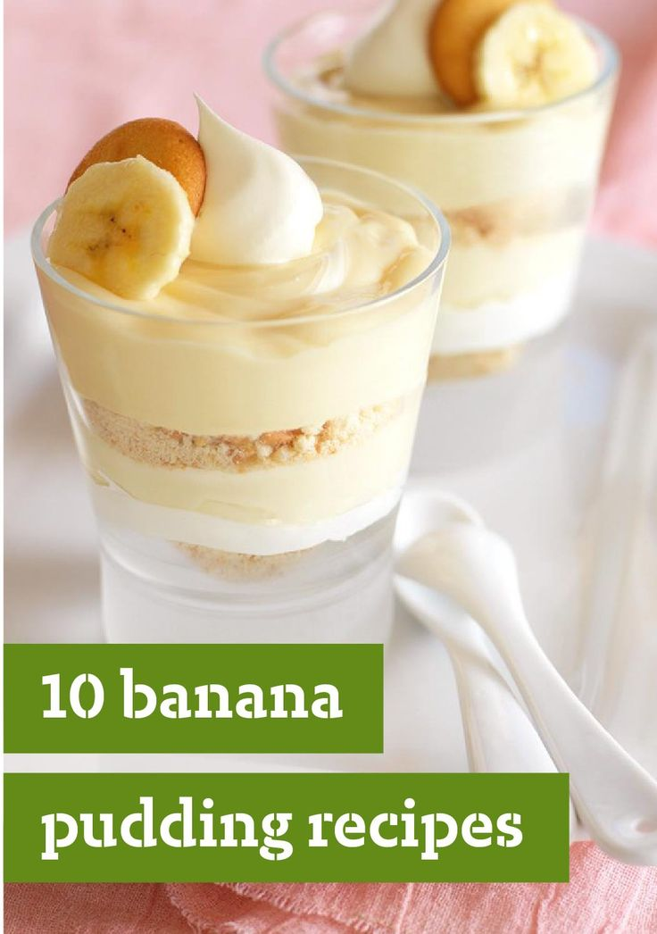 10 Banana Pudding Recipes -- When it comes to comfort food recipes, banana pudding desserts are right up there with ice cream and homemade baked goods. Our collection features banana pudding in many glorious forms--including super-moist cakes and ultra-creamy pies.