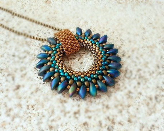 Bronze Blue Green Beaded Pendant with Magatama - Beaded Necklace on Etsy