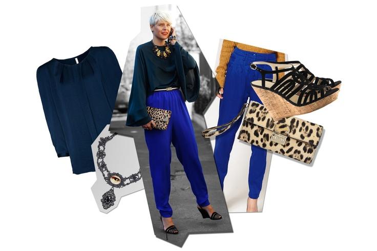 Elisa Nalin con dei pantaloni blu elettrico