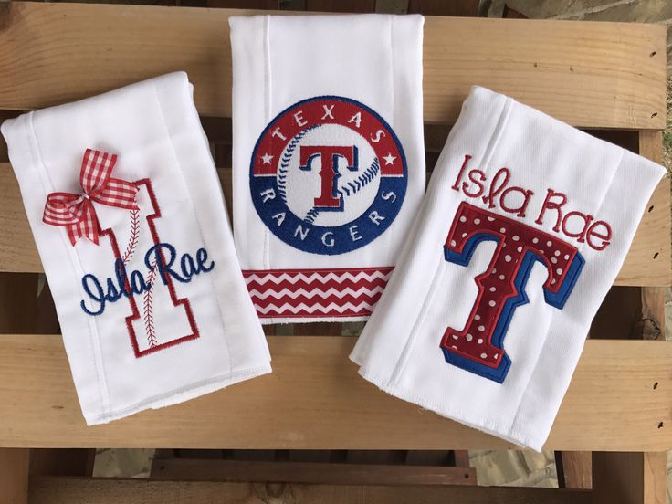 A personal favorite from my Etsy shop https://www.etsy.com/listing/151371086/set-of-3-texas-rangers-burp-cloth-set