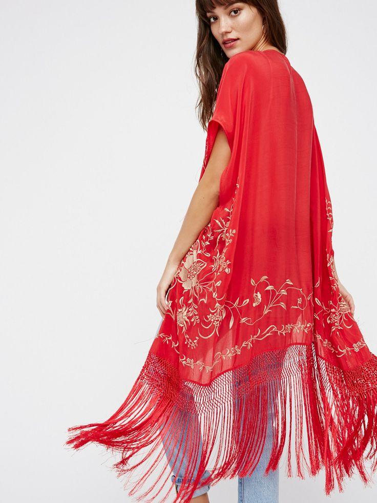 Ophelia Embroidered Fringe Kimono at Free People Clothing Boutique
