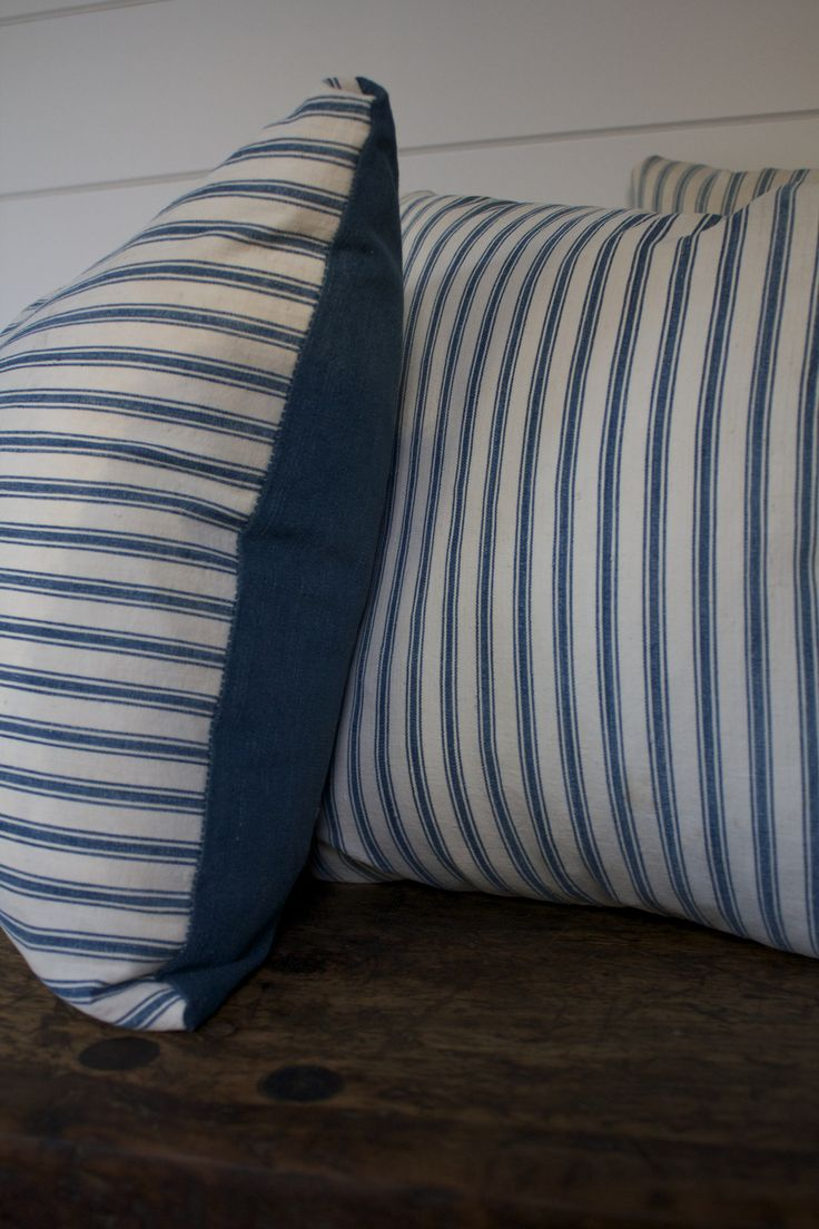 Antique Ticking & Denim Pillow