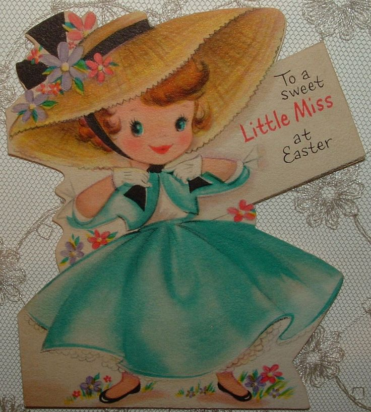 Cute Girl in Easter Best - TURQUOISE - 40's Vintage HALLMARK Greeting Card