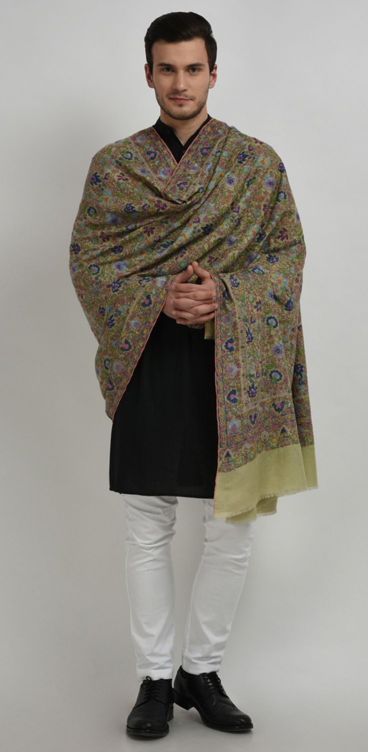 Pista Green Pure Pashmina Jamawar Hand Embroidered Men's Shawl #IndianFashion