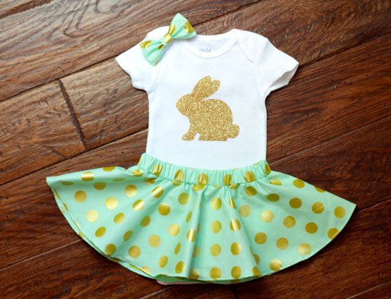 Girls Easter Bunny Dress with Bodysuit and Hair by babyOclothing