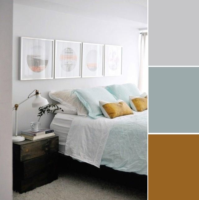 What could possibly be more relaxing than a color palette inspired by the beach? This lovely seafoam colored bedspread is subtle, but still pops against the cool gray walls in this bedroom. And the golden colored pillows are still neutral, but really add a punch of excitement to the space.