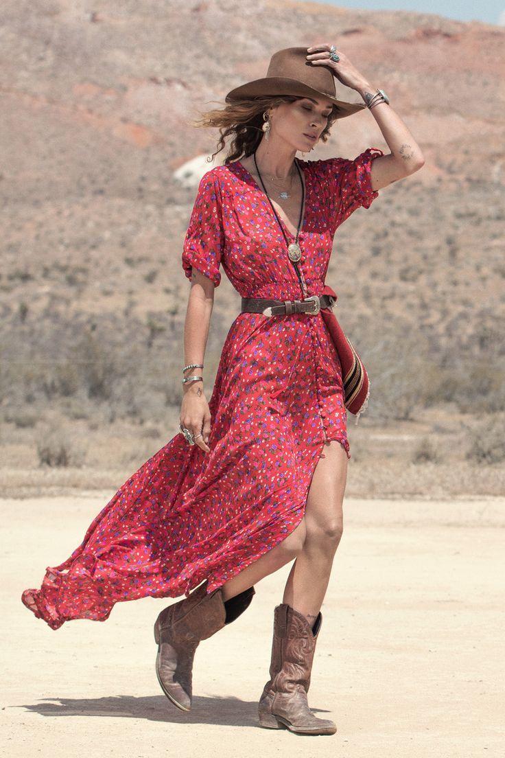 Bohemian V-Neck Printed High Slit 3/4 Sleeve Dress For Women