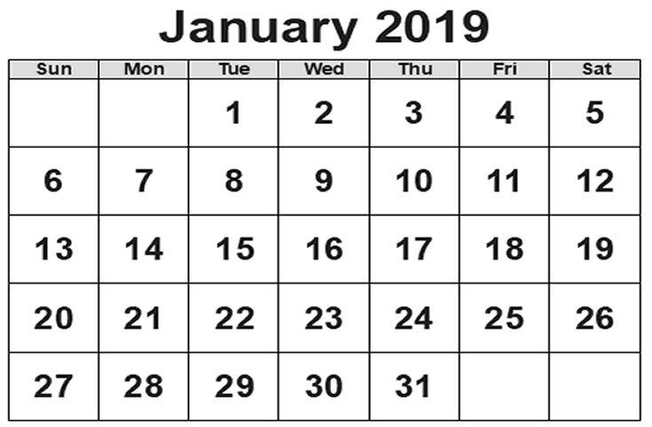 Calendar January 2019 PDF January 2019 Calendar Pinterest