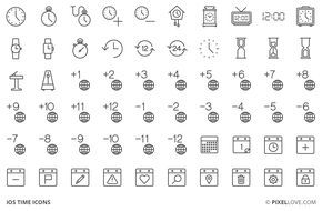 A set of iOS tab bar icons, toolbar icons and 3d touch icons of time, time zones, clocks and calendars.