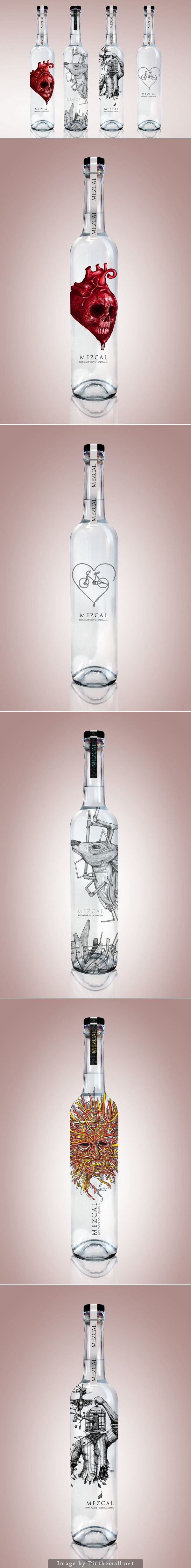 Diseños alternativos para mezcales artesanales. Awesome Mezcal packaging collection by Cesar Nandez on Behance curated by Packaging Diva PD.