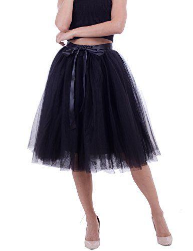 a1f0de528e Women's Solid A Line Midi/Knee Length Tutu Skirt 6 Layered Pleated Tulle  Petticoat Dance