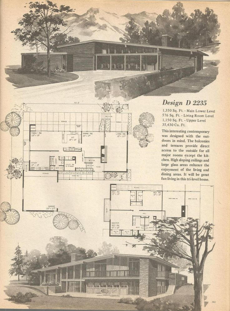 Mid Century Modern Home Plans 564 best house plans images on pinterest | vintage houses, modern