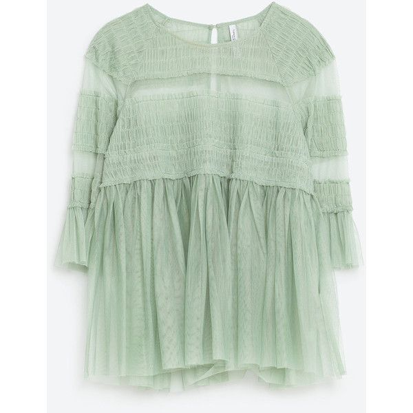 FRILLY TULLE TOP ($36) ❤ liked on Polyvore featuring tops, tunics, embroidered top, green tunic, green top, embroidery top and embroidered tunic