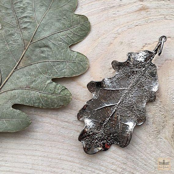 Eiken blad hanger electroformed eiken blad zilver kleur blad natuurlijke sieraden eco sieraden galvanische blad echte blad hanger botanic sieraden