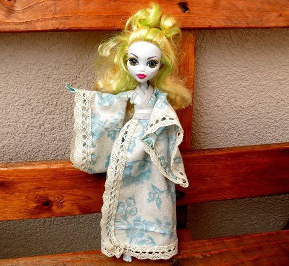 Creamy and blue blossoms japanese kimono  dress for Monster