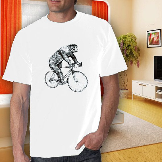 sloth on bike adult white tshirt men women S2XL by goodwear, $14.99