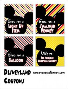 Disneyland Coupons! Such a great idea to give kids coupons ahead of time for treats and souvenirs. That way they feel in control and there is no nagging!
