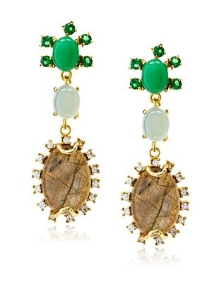 60% OFF Indulgems Green & Blue Chalcedony with Labradorite Earrings