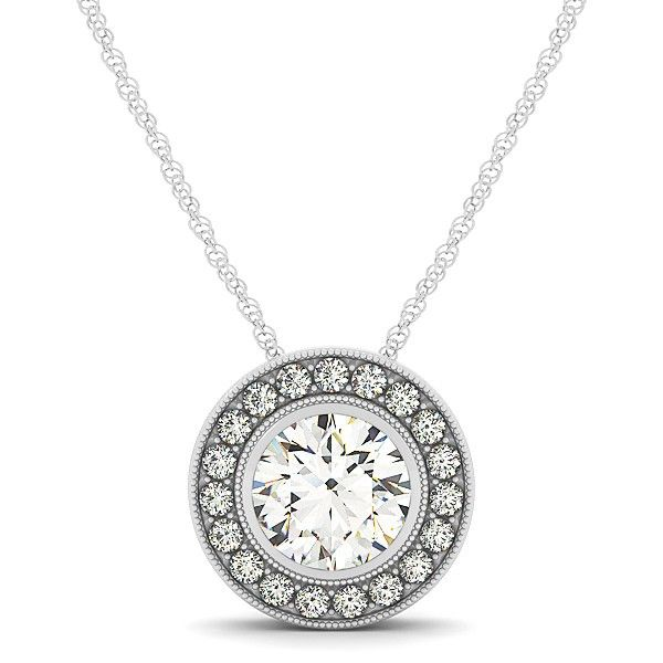 Prominent Halo Diamond Pendant