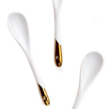 Oro Sumergido Porcelana Spoon Set   LEIF