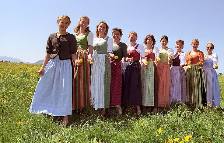 Different colour variations can depend on the origin of the woman wearing a dirndl