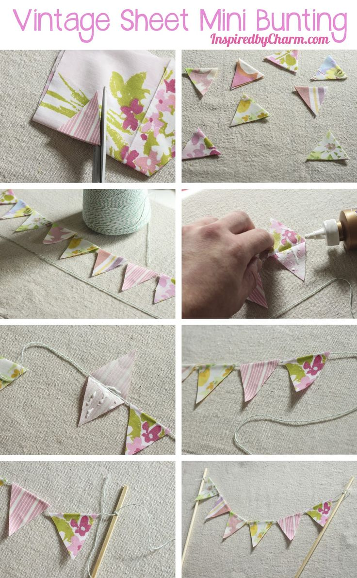 DIY Vintage Sheet Mini Bunting via Inspired by Charm