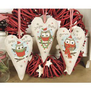 Christmas Owls Holiday Hearts - Cross Stitch, Needlepoint, Stitchery, and Embroidery Kits, Projects, and Needlecraft Tools   Stitchery