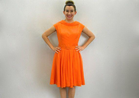 Vintage Lilli Diamond 50s Orange Party Dress by GlennasVintageShop
