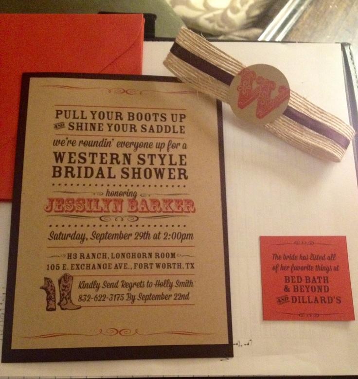 Western Themed Bridal Invitations via @Ashley Nuchia