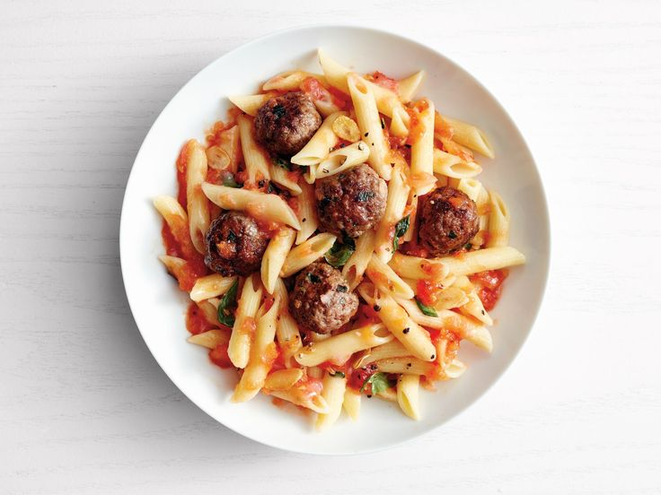 Penne with Vodka Sauce and Mini Meatballs recipe from Food Network Kitchen via Food Network