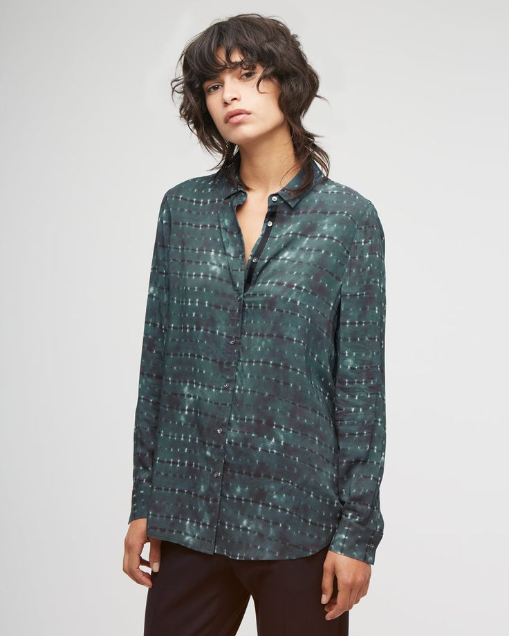 Space Dye Smocked Back Shirt which would look great with jeans for a casual look. I love the petrol colour too!